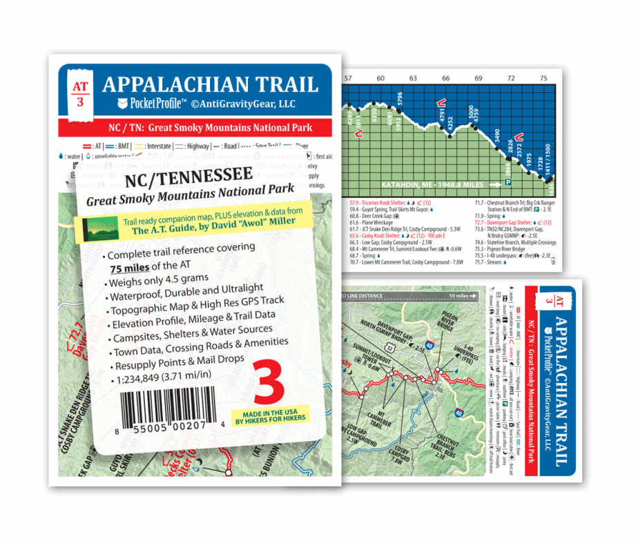 Gps Elevation Map.Appalachian Trail Pocket Profile Map The A T Guide